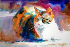 Calico Cat by Ken Hosmer @kenhosmer.com/gallery_watercolor. copyright 2007.