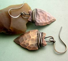Copper Earrings - Arrowhead Earrings - Mixed Metal Earrings - Artisan Tribal Jewelry - Hammered CoJewelry. $54.00, via Etsy.