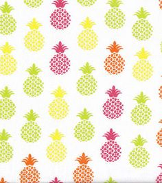 Snuggle Flannel Fabric-Bright Pineapples