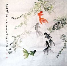 Chinese Goldfish 0 x x Painting. Buy it online from InkDance Chinese Painting Gallery, based in China, and save Koi Painting, Japanese Painting, Chinese Painting, Chinese Brush, Chinese Art, Asian Artwork, Japanese Calligraphy, Beautiful Fish, Japan Art