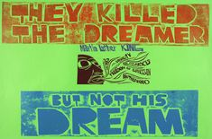 They killed the dreamer but not his dream // This linocut graphic poster was designed by Paul Peter Piech, who's work is on display at the People's History Museum in Manchester from October 1st.