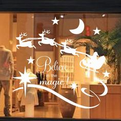 $4.36 Removable Christmas Believe Magic Glass Window Wall Stickers