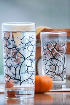 Water Glasses with Black and White Trees and Birds. Available from MaryElizabethArts.com