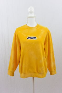 Vintage NIKE Sweatshirt, Size XS-Small, Yellow, Bleached, Upcycled, Sporty Spice, Tumblr Clothing, 90's Clothing, Grunge, OOAK by littleraisinvintage on Etsy