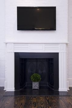 White Painted Brick Fireplace With Black Insert Hotel Royal Nola