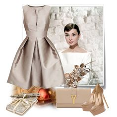 Audrey Hepburn by snje2105 on Polyvore featuring мода, Armani Collezioni, Casadei, Yves Saint Laurent and Post-It
