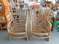 Rattan Fretwork Wing Chairs