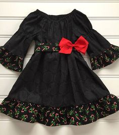Toddler Christmas Dress, Girl Christmas Dress, Black and Red Dress, Bell Sleeves, Girl Holiday Dress Kids Frocks, Frocks For Girls, Dresses Kids Girl, Girl Outfits, Girl Frock Dress, Baby Dress, Toddler Christmas Dress, Fancy Blouse Designs, Dress Designs