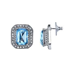 1928 Nickel Free Faceted Stone Rectangle Halo Stud Earrings, Women's, Blue