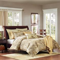 The Sugar Plum collection will make any room look rich and sophiscated. The comforter and shams feature a khaki and brown leave motif pattern that is woven into a jacquard pattern. The Euro shams feature a textured pattern that is woven into a jacquard with a flange detail. The set includes a decorative pillow in khaki and embroidered with leaves.