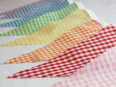 Rainbow Gingham Bunting Banner - Fabric Bunting  Banner - Fabric Banner -  Flags Pennants - Featured In Brides Magazine August