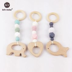 Baby Teether Play Gym Toys Wood Teether 3pcs/lot Organic Wood Crochet Beads Food Grade BPA Free Silicone Beads Baby Rattles