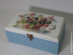 Коробочка для чая Солнечная настурция - бирюзовый,короб для хранения,коробочка