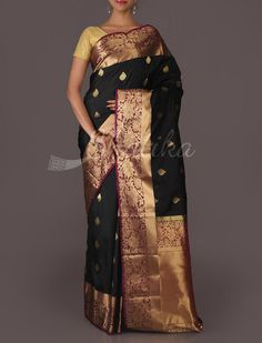 Ganga Golden Splendour Leaf Motif Pure #MulberrySilkSaree