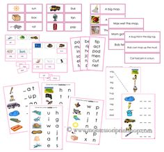Montessori Pink Language Series, printable Montessori Language materials for Montessori Learning at home and school.