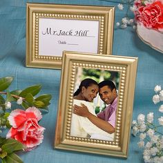 With elegance and versatility combined, these gold metal place card/photo frames are picture perfect favors | Inexpensive Favors