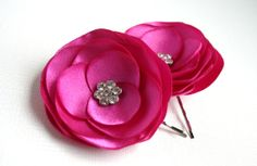 Pink Bridal Flower Clips  Hot Pink Flower Hair by SarasBoutique, $15.00