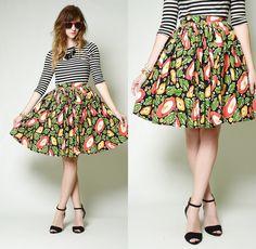 Vintag 50s 60s bold FLORAL print High waist FULL swing CIRCLE mini dress SKIRT S | eBay
