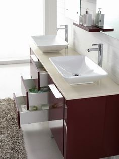 Catalan 1800 - Freestanding Double Basin Red Vanity with Blum Soft Closing Drawers for Large Bathroom by Nova Deko.