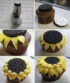Oreo Sunflower cupcakes- cute. don't know how I would do it but it looks so good!