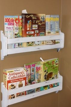 Turn old hymnal racks into wall mount bookshelves. affordable racks on ebay and a few on Etsy.