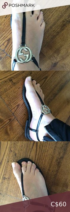 Authentic Gucci GG flats 7.5 includes dust bag My favourite shoes until I had babies and my feet grew insert sad emoji . They are authentic ! They were well loved and travelled everywhere with me . Love the GG HARDWARE . Definitely deserve a second chance ❤️❤️❤️ Gucci Shoes Sandals