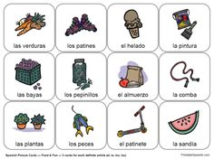 Printable Spanish FREEBIE of the Day: Food & Fun with Articles card set from PrintableSpanish.com