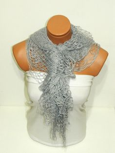 Latest Fashion filet knit gray women scarf by WomanStyleStore, $19.00
