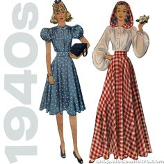 1940s Vintage Pattern - McCall 3771 Two Piece Dress with Hood
