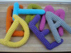 Crochet letters for name garland for pram or stroller