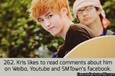 Exo Facts. Oh dear, well regardless of all those mean people after you had to leave, I love you Kris. #WeSupportYouKris