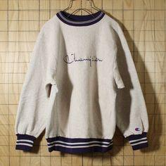 champion刺繍タグ/USA製90sビンテージ古着/杢グレー/リバースウィーブ/デカロゴスウェット/メンズMサイズ