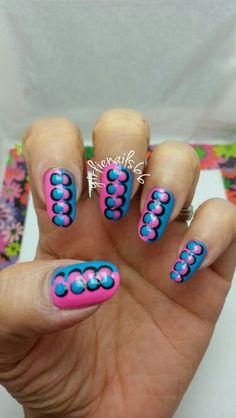 Pink and blue dot nails
