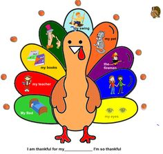 "SMARTBoard Thankful Turkey Song Each feather on the Thankful Turkey has an image of something to be thankful for. Children take turns touching the feather to reveal the image. A looped accompaniment file is attached... to the tune of ""London Bridge.""  This SMART Notebook file can easily be adapted for any subject during this season.   cphmusic.net"