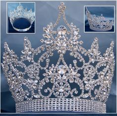 Continental Adjustable Crystal Crown Tiara Magnificent Rhinestone Crown Tiara, made with the finest rhinestones and silver plated metal. Incorporated in this design are the stones in different sizes.