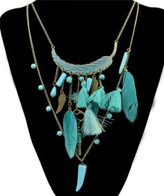Find More Pendant Necklaces Information about Aqua Stone Penant Dreamcather Design Feather Wing Pendant Long Chain Necklace,Fashion Jewelry For Women,High Quality necklace jewelry box,China jewelry charm necklace Suppliers, Cheap jewelry stand for necklaces from DreamFire Store on Aliexpress.com