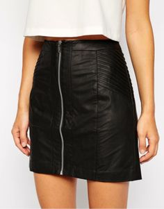 ITEM #3 THE SKIRT  Nylons and thigh high socks are making skirts very popular for this fall season. If you love leather jackets but would prefer a skirt, then I have something for you.