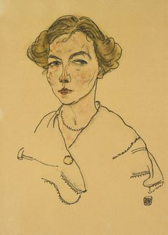 Egon Schiele 1890 - 1918 PORTRÄT EINER FRAU (LILLY STEINER) (PORTRAIT OF A WOMAN (LILLY STEINER)) Signed Egon Schiele and dated 1918 (lower right) Watercolor and black crayon on paper (possibly colored by another hand) 17 1/2 by 11 5/8 in. 44.5 by 29.6 cm Executed in 1918.