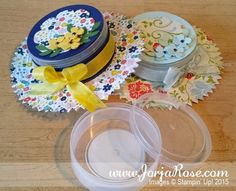 a re-purposed plastic container, which when decorated became a cute hat, that small trinkets such as jewelry can be enclosed  Stampin' Up!