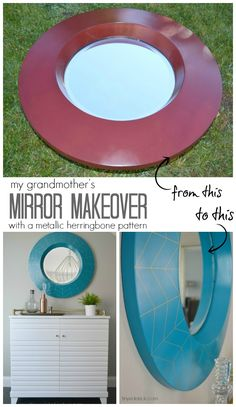 Never pass up an old ugly mirror at a garage sale again!  You can make it beautiful with herringbone detail and I'll show you how to do it without doing ANY math!!! | TinySidekick.com #thrifted