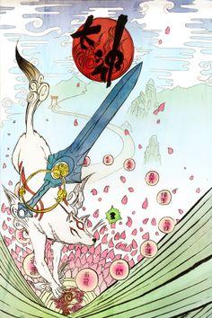 Okami Tribute Framed Art Print by josephsabatini Japanese Fox, Interesting Drawings, Japanese Mythology, Wolf Photos, Amaterasu, Beautiful Fantasy Art, Anime Animals, Anime Wolf, Kawaii Drawings
