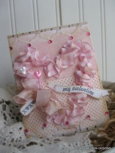 shabby chic valentine card- xoxo my valentine card- sewn ruffled heart handmade card. $8.75, via Etsy.