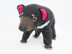 Ebony the Tasmanian Devil Knitting Pattern Hand Knitting, Knitting Patterns, Crochet Patterns, Softies, Double Pointed Knitting Needles, Tasmanian Devil, Knitted Animals, Australian Animals, Knit In The Round