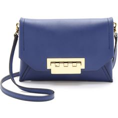 ZAC Zac Posen Eartha Envelope Cross Body Bag (€190) ❤ liked on Polyvore featuring bags, handbags, shoulder bags, cobalt, blue leather handbags, handbags crossbody, leather cross body purse, leather crossbody handbags and hand bags