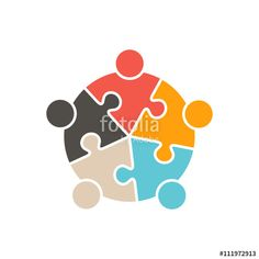 Teamwork People five puzzle pieces. Vector graphic design illustration