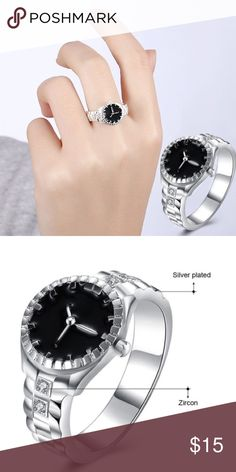 Silver Plated Zircon Ring Watch Silver Plated Zircon Ring Watch Boutique Jewelry Rings