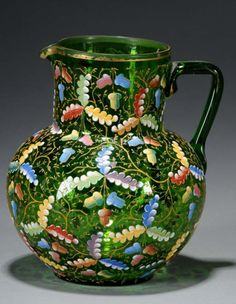 Moser Enameled Glass Pitcher