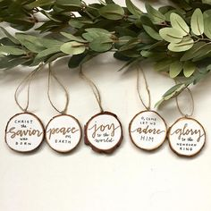Jesus Wood Slice Ornaments (Set of 5) lyrics from famous Christmas carols and to celebrate the birth of Jesus. Each ornament is hand written on paper and sealed onto the wood slice with a matte sealer -Peace on Earth -Joy to the world -O Come, let us adore Him -Christ the Savior was born -Glory to the Newborn King   ***Please note: This item is 100% handmade in a non-smoking, pet free environment;, made to order Each wood slice has slight variation in size and shape  Measures about 2.5 in…