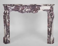 Antique Louis XV style fireplace, Pompadour model, made out of Violet Breccia marble (Reference 3308) - Available at Galerie Marc Maison #antique #fireplace #mantel #marble #pompadour #frenchantiques #19thcentury #interior #decoration #design #architecture #marcmaison