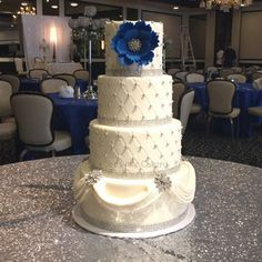 Silver and Royal Blue wedding cake.